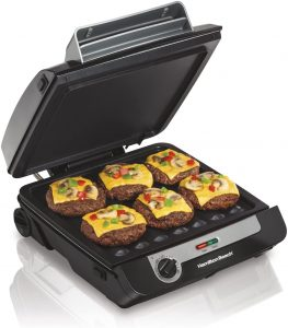 Hamilton Beach 3-in-1 Indoor Grill and Electric Griddle Combo and Bacon Cooker