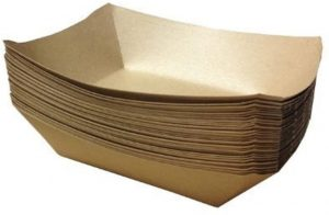 URPARTY - Premium Brown Disposable Paper Food Serving Tray
