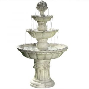 Sunnydaze 4-Tier Outdoor Water Fountain with Fruit Top