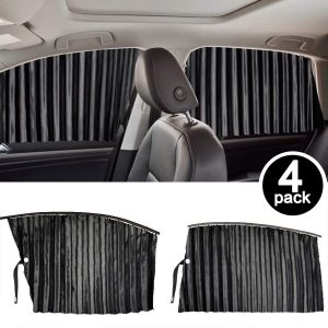 Homesprit 4 Pack Slidable Magnetic Car Side Window Sun Shade Curtain